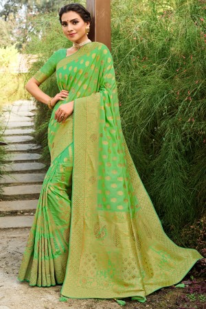 Parrot Green Soft Silk Saree with Blouse