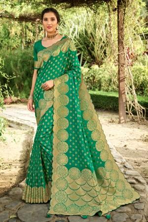 Rama Soft Silk Saree with Blouse