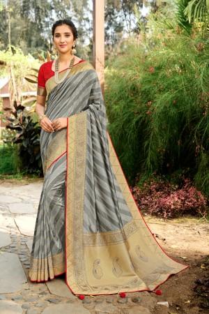 Grey Soft Silk Saree with Blouse