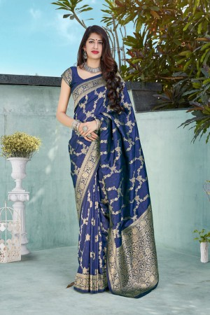 Blue Banarasi Silk Saree with Blouse