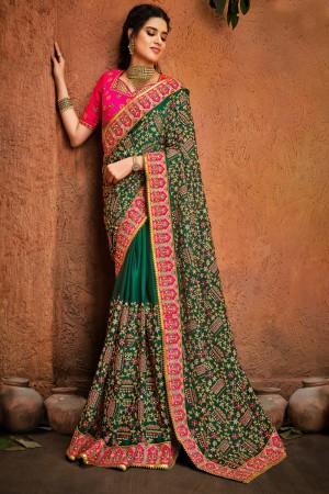 Green Pure Satin Saree with Blouse