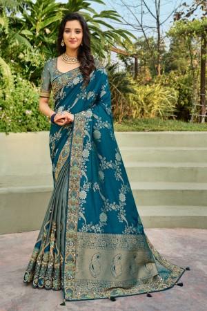 Blue & Grey Banarasi Silk Saree with Blouse
