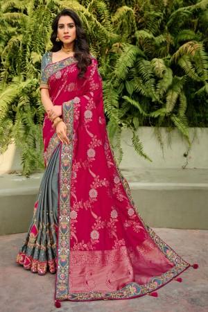 Rani Pink & Grey Banarasi Silk Saree with Blouse