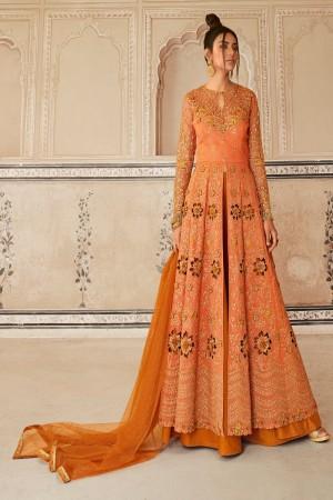 Orange Silk & Butterfly Net Salwar Kameez