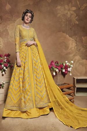 Yellow Butterfly Net Salwar Kameez