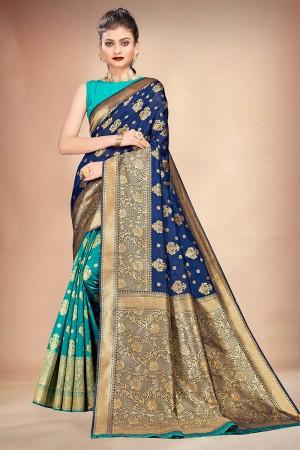 Navy Blue & Rama Banarasi Silk Saree with Blouse
