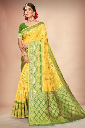 Yellow Cotton Silk Saree with Blouse