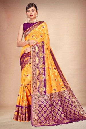 Orange Cotton Silk Saree with Blouse