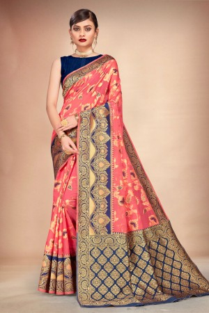 Coral Cotton Silk Saree with Blouse