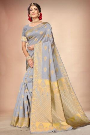 Light Grey Banarasi Silk Saree with Blouse