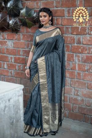 Dark Grey Banarasi Silk Saree with Blouse
