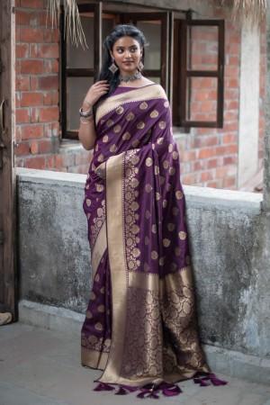 Purple Banarasi Silk Saree with Blouse