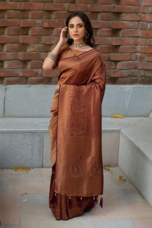 Coffee Banarasi Silk Saree with Blouse