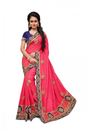 Princely Pink Two Tone Silk Embroidary & Hand work Saree