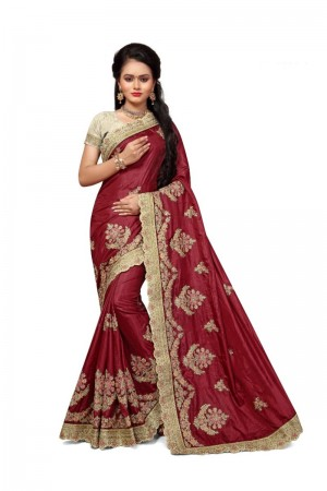 Astounding Maroon Two Tone Silk Embroidary & Hand work Saree