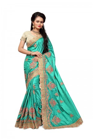 Ravishing Rama Two Tone Silk Embroidary & Hand work Saree