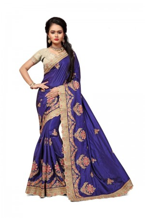 Dreamy Blue Two Tone Silk Embroidary & Hand work Saree