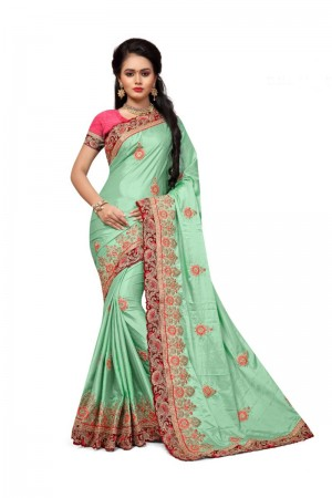 Classy Light_green Two Tone Silk Embroidary & Hand work Saree