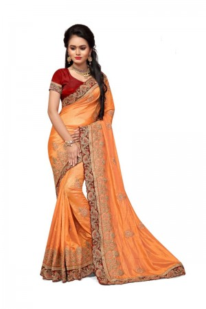 Desirable Orange Two Tone Silk Embroidary & Hand work Saree