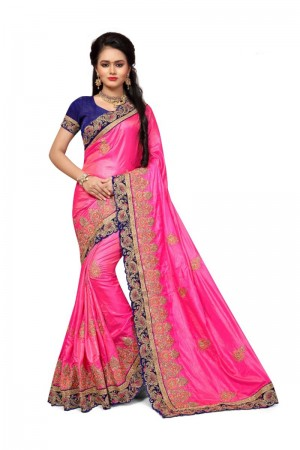 Designer Pink Two Tone Silk Embroidary & Hand work Saree
