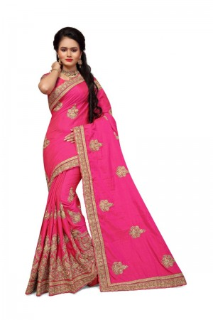 Alluring Pink Two Tone Silk Embroidary & Hand work Saree