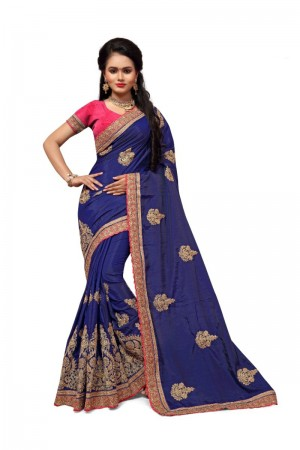 Enriching Blue Two Tone Silk Embroidary & Hand work Saree