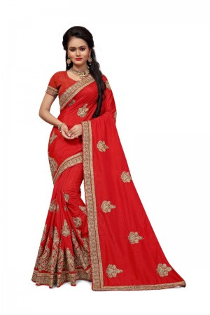 Amazing Red Two Tone Silk Embroidary & Hand work Saree