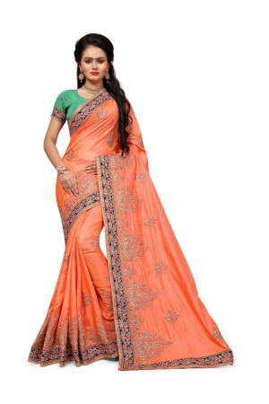 Glossy Orange Two Tone Silk Embroidary & Hand work Saree