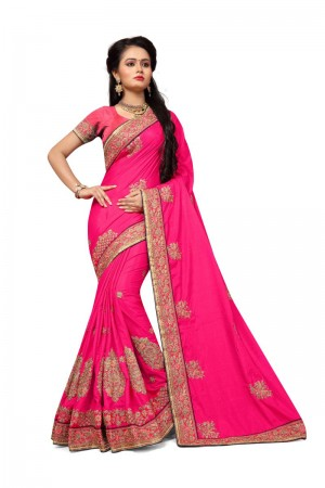 Mind Blowing Pink Two Tone Silk Embroidary & Hand work Saree