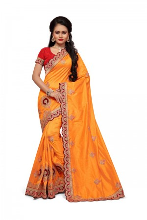 Charismatic Yellow Two Tone Silk Embroidary & Hand work Saree