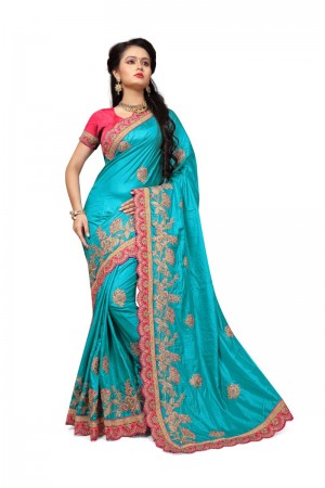 Impressive Sky_blue Two Tone Silk Embroidary & Hand work Saree