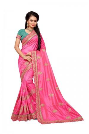 Stunning Pink Two Tone Silk Embroidary & Hand work Saree