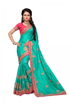 Glitzy Rama Two Tone Silk Embroidary & Hand work Saree
