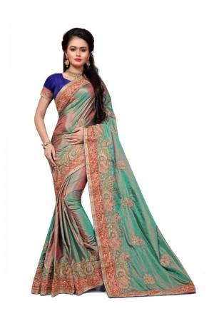 Distinctive Green Two Tone Silk Embroidary & Hand work Saree