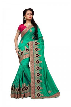Ambitious Green Two Tone Silk Embroidary & Hand work Saree