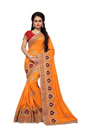 Dreamy Yellow Two Tone Silk Embroidary & Hand work Saree