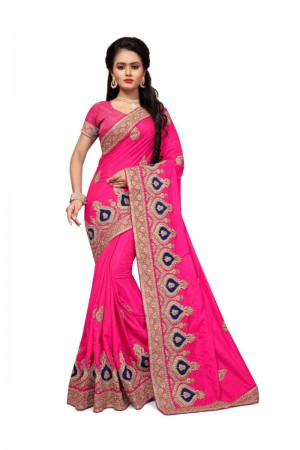 Classic Pink Two Tone Silk Embroidary & Hand work Saree