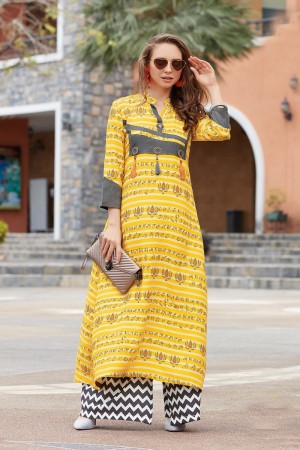 Awesome Yellow Reyon Print with Fancy Kurti