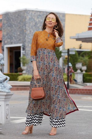 Tremendous Multicolor Reyon Print with Fancy Kurti