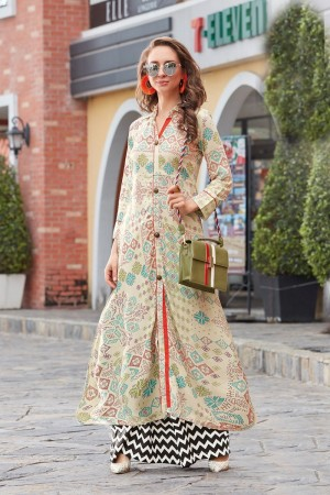 Elegant Cream Reyon Print with Fancy Kurti