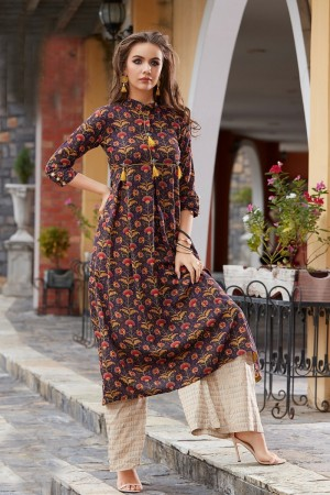 Dynamic Brown Reyon Print with Fancy Kurti