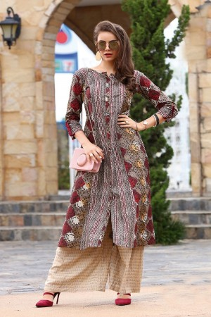 Outstanding Multicolor Reyon Print with Fancy Kurti