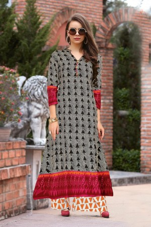 Delusive Multicolor Reyon Print with Fancy Kurti