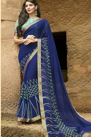 Dazzling Black Pure Georgette Print With Lace Border Saree