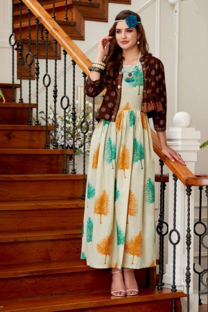 Remarkable Multicolor Cotton Print Fancy Pattern Kurti