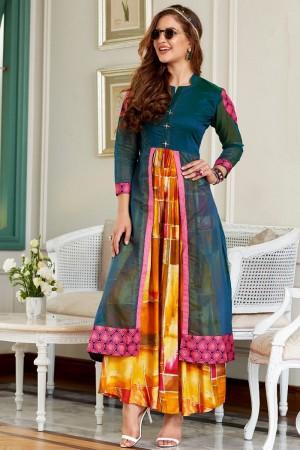 Superb Multicolor Kora & Rayon Print Fancy Pattern Kurti