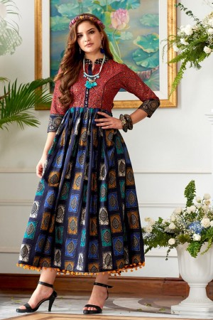 Lovely Multicolor Cotton Print Fancy Pattern Kurti