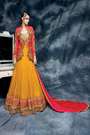 Musterd Heavy Embroiderd Zari and coading work on Jacket with Heavy Lace Border