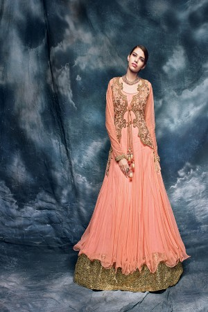 Peach Heavy Embroiderd Zari and dianond work with Heavy Sequance Lace Border