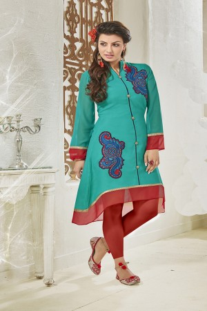 Rama Georgette Heavy Embroidered Pattern Work and lining with Polyster Santoon Kurti